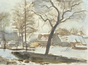 Grub, Bauernhaus im Winter