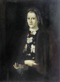 Mädchenportrait mit grünen Handschuhen meine Scwester Grete